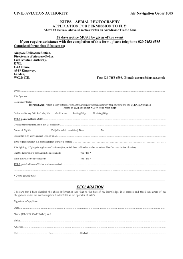 CAA KAP Permission Aplication Form