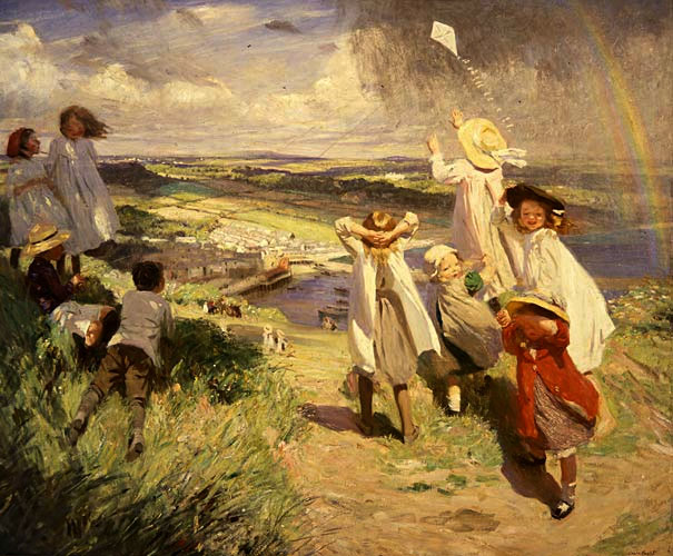 Flying a kite Dame Laura Knight 1910