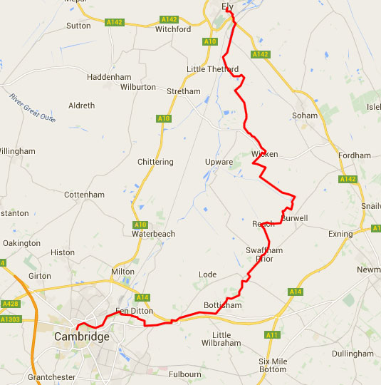 Cambridge-to-Ely-NCN-11-route
